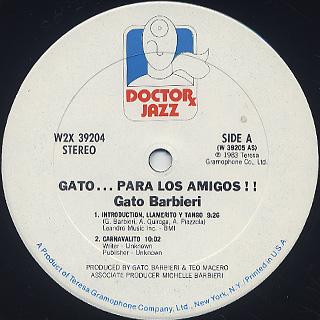 Gato Barbieri / Gato... Para Los Amigos!! label