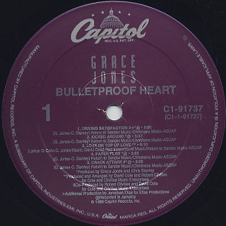 Grace Jones / Bulletproof Heart label
