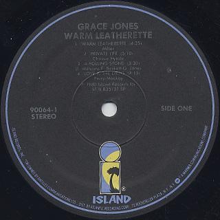 Grace Jones / Warm Leatherette label
