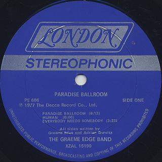 Graeme Edge Band / Paradise Ballroom label