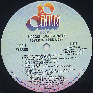 Hodges, James & Smith / Power In Your Love label