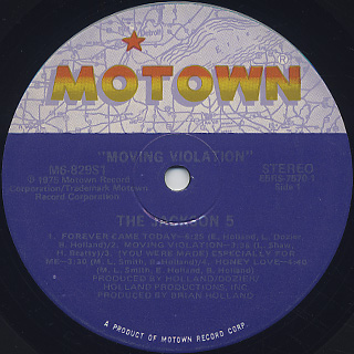Jackson 5 / Moving Violation label