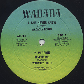 Jah Witter / She Never Knew label