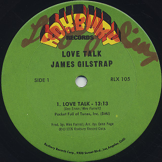 James Gilstrap / Love Talk label