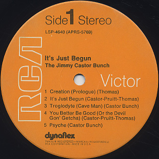 Jimmy Castor Bunch / It's Just Begun label