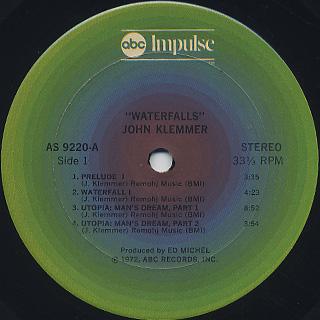 John Klemmer / Waterfalls label