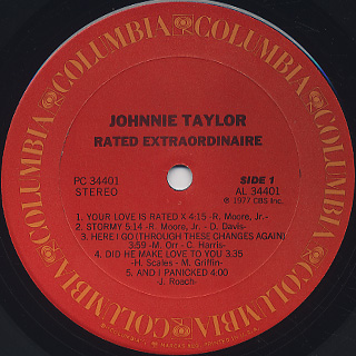 Johnnie Taylor / Rated Extraordinaire label