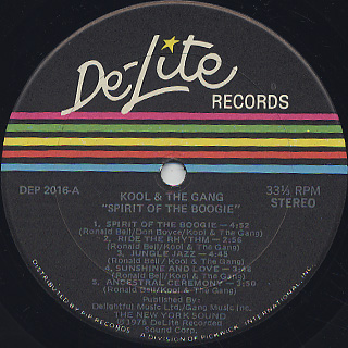 Kool & The Gang / Spirit Of The Boogie label
