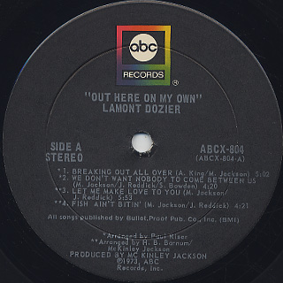 Lamont Dozier / Out Here On My Own label