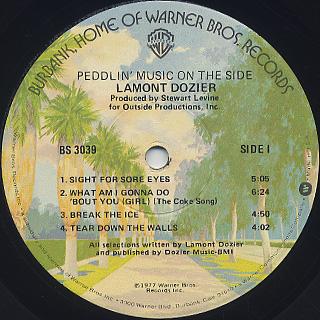 Lamont Dozier / Peddlin' Music On The Side label