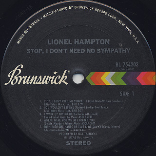 Lionel Hampton / Stop! I Don't Need No Sympathy! label