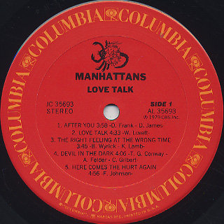 Manhattans / Love Talk label