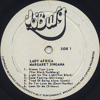 Margaret Singana / Lady Africa label