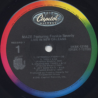 Maze Featuring Frankie Beverly / Live In New Orleans label