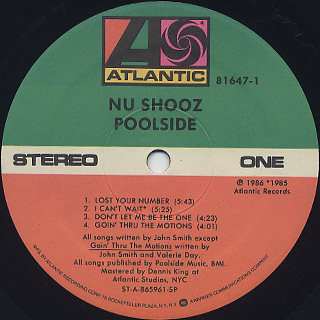 Nu Shooz / Poolside label