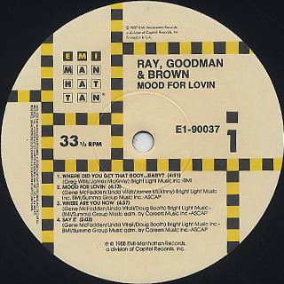 Ray, Goodman & Brown / Mood For Lovin' label