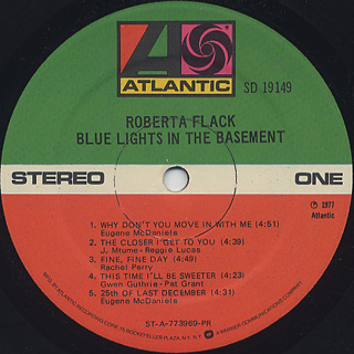 Roberta Flack / Blue Lights In The Basement label