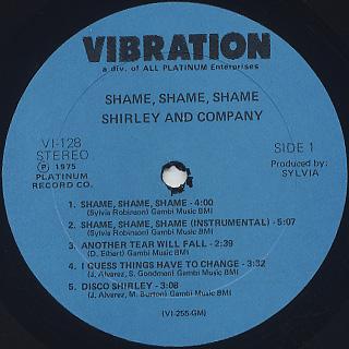 Shirley And Company / Shame Shame Shame label