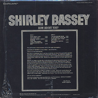 Shirley Bassey / How About You? back