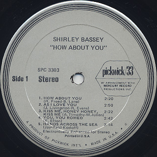 Shirley Bassey / How About You? label