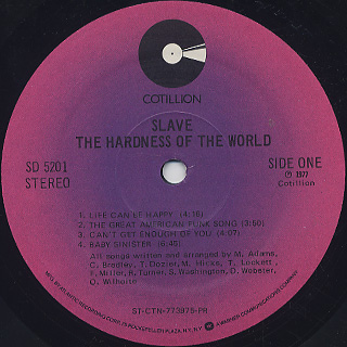 Slave / The Hardness Of The World label