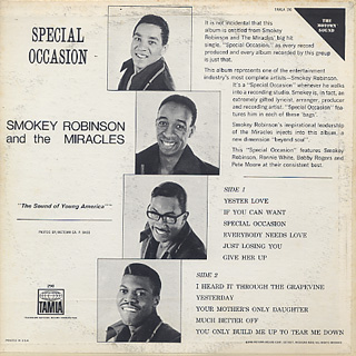 Smokey Robinson and The Miracles / Special Occasion back