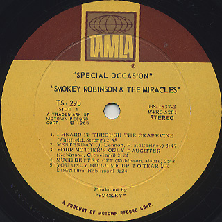 Smokey Robinson and The Miracles / Special Occasion label