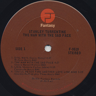 Stanley Turrentine / The Man With The Sad Face label
