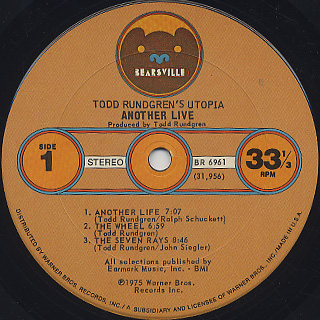 Todd Rundgren's Utopia / Another Live label