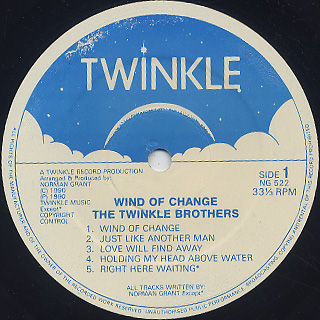 Twinkle Brothers / Wind Of Change label