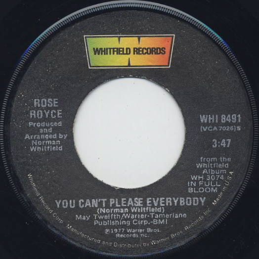 Rose Royce / Ooh Boy c/w You Can't Please Everybody back