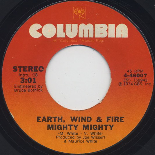 Earth, Wind & Fire / Mighty Mighty c/w Drum Song front