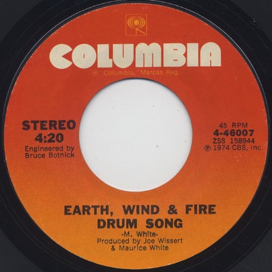Earth, Wind & Fire / Mighty Mighty c/w Drum Song back