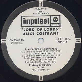 Alice Coltrane / Lord Of Lords label