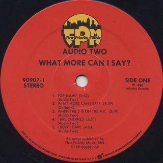 Audio Two / What More Can I Say label