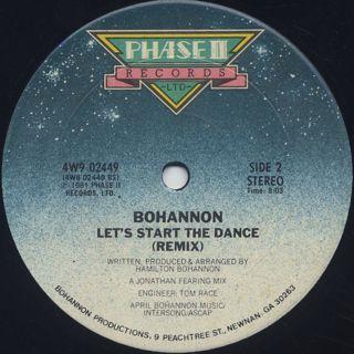 Bohannon / Let's Start II Dance Again back