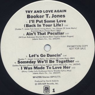 Booker T. Jones / Try And Love Again label