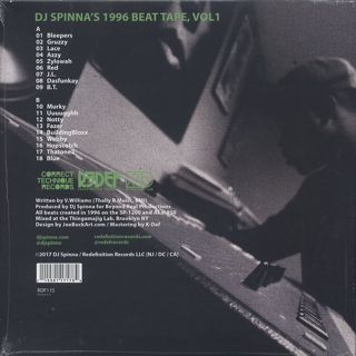 DJ Spinna / 1996 Beat Tape, Vol 1 back