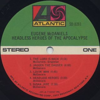 Eugene McDaniels / Headless Heroes Of The Apocalypse label