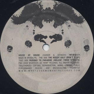 House Of House / Rushing To Paradise label