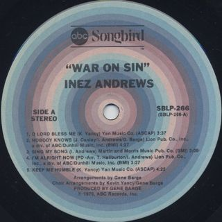 Inez Andrews / War On Sin label