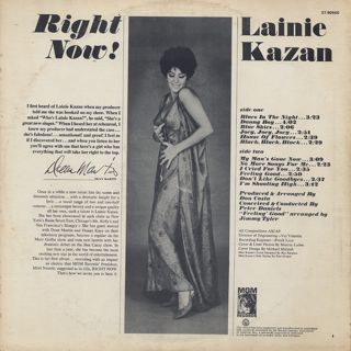 Lainie Kazan / Right Now! back