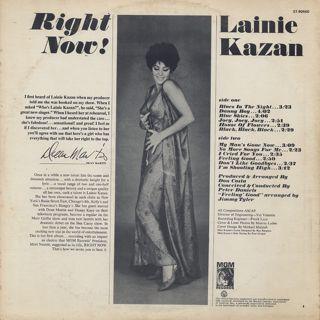 Lainie Kazan / Right Now! back