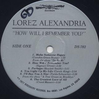 Lorez Alexandria / How Will I Remember You? label
