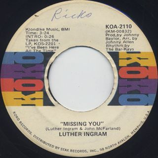 Luther Ingram / You Were Made For Me c/w Missing You back