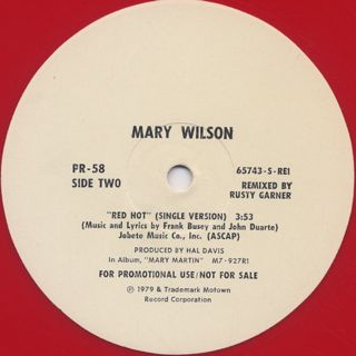 Mary Wilson / Red Hot label
