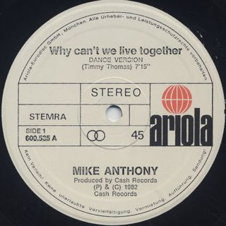 Mike Anthony / Why Can't We Live Together... label