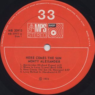 Monty Alexander / Here Comes The Sun label