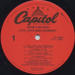 Nancy Wilson / Life, Love And Harmony label