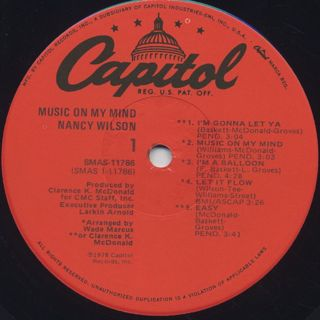 Nancy Wilson / Music On My Mind label